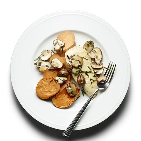 Baked Chicken with Mushrooms and Sweet Potato