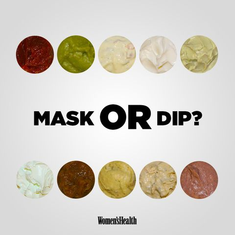 blobs of face masks and dips