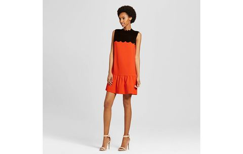7cb4457977cc3 Orange Drop Waist Scallop Trim Dress