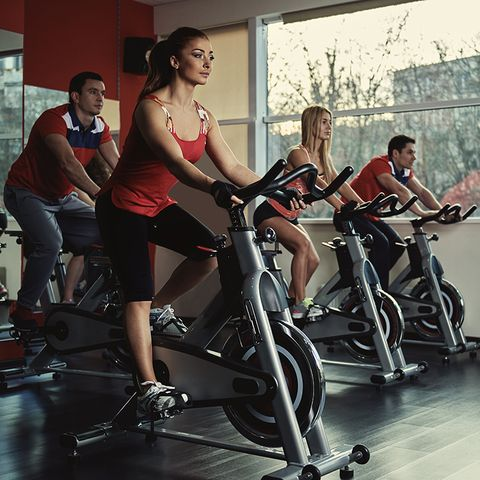 Indoor cycling, Stationary bicycle, Leg, Exercise machine, Exercise equipment, Exercise, Physical fitness, Bicycle, Thigh, Gym,