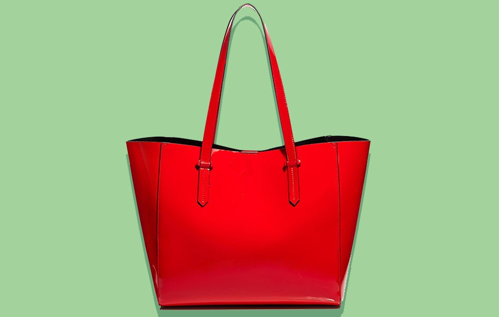 Large Print Open Top Tote Bag - RED Lands End z9P51ZxcsL