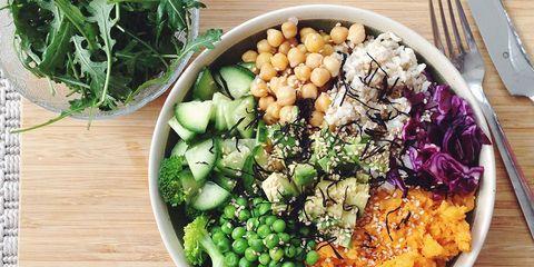 High protein vegan rainbow bowl