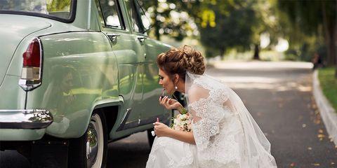 Photograph, White, Bride, Dress, Vehicle, Car, Beauty, Wedding dress, Wedding, Luxury vehicle,