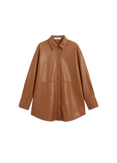 camisa piel mango marron