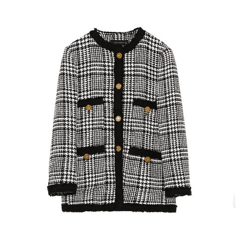 Clothing, Outerwear, Sleeve, Pattern, Jacket, Plaid, Cardigan, Hood, Design, Coat,