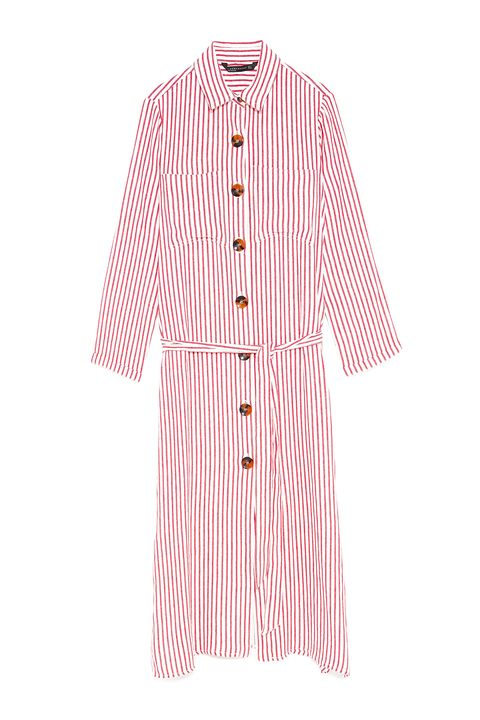 Clothing, Pink, Sleeve, Robe, Collar, Outerwear, Button, Nightwear, Dress, Pattern,