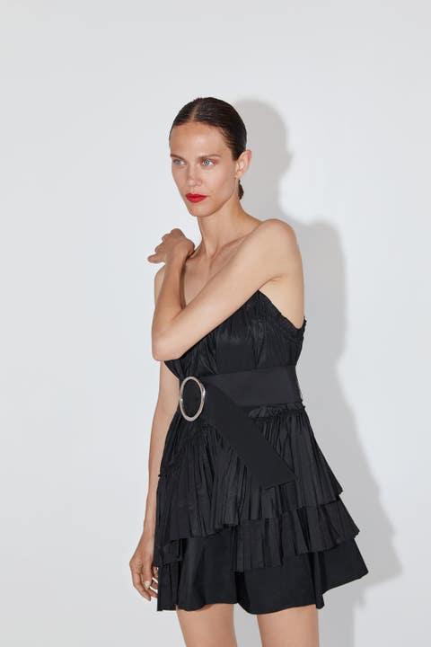 Clothing, Shoulder, Dress, Black, Fashion model, Cocktail dress, Fashion, Little black dress, Joint, Waist,