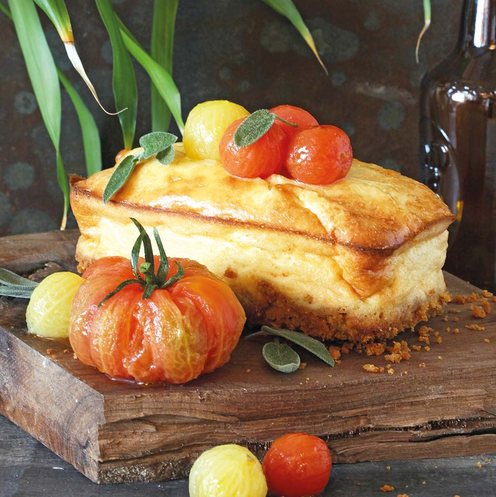 Tarta de queso y tomate