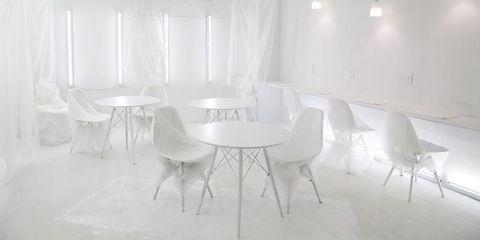 White, Room, Furniture, Property, Interior design, Light, Chair, Table, Floor, Design,