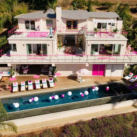 Property, House, Home, Building, Mansion, Pink, Real estate, Architecture, Residential area, Villa,