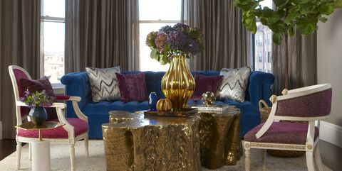 Living room, Room, Furniture, Interior design, Curtain, Blue, Property, Table, Coffee table, Purple,