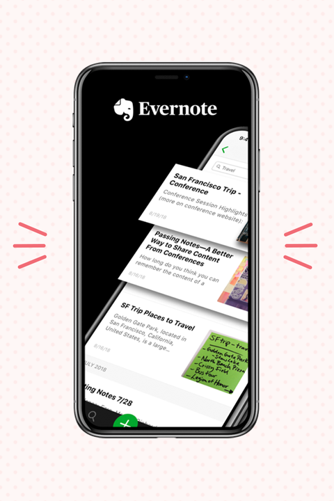 evernote app displayed on iphone