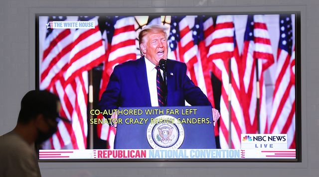 los angeles, california   august 27 us president donald trump is shown on a television screen inside a mostly empty terminal 6 at los angeles international airport lax as he speaks at the republican national convention on august 27, 2020 in los angeles, california trump appeared each night during the four day convention which was held mostly in washington due to the covid 19 pandemic photo by mario tamagetty images