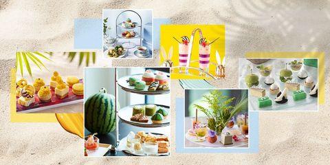 ホテルの夏のアフタヌーンティーのイメージ組み合わせ画像