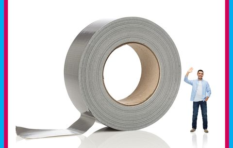 Huge roll of duct tape next to a person