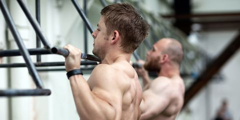 Barechested, Shoulder, Muscle, Chest, Physical fitness, Arm, Chin, Joint, Gym, Bodybuilding,