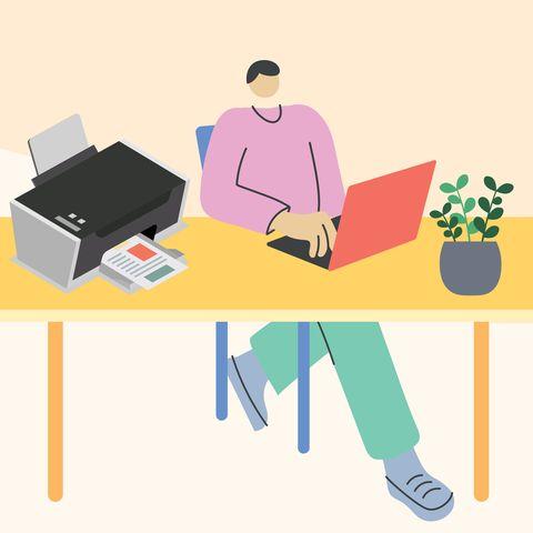 person printing at desk