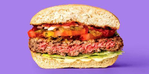 Food, Dish, Cuisine, Fast food, Veggie burger, Sandwich, Hamburger, Ingredient, Bacon sandwich, Breakfast sandwich,
