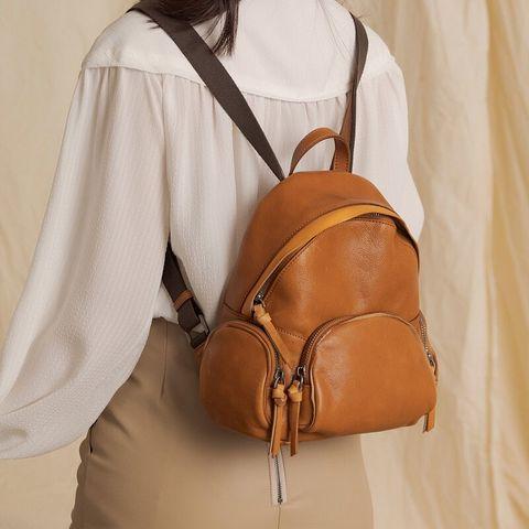 no216 多夾層設計 小型棕色後背包