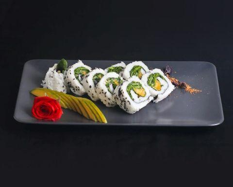 Dish, Cuisine, Food, Sushi, California roll, Ingredient, Comfort food, Garnish, À la carte food, Japanese cuisine,