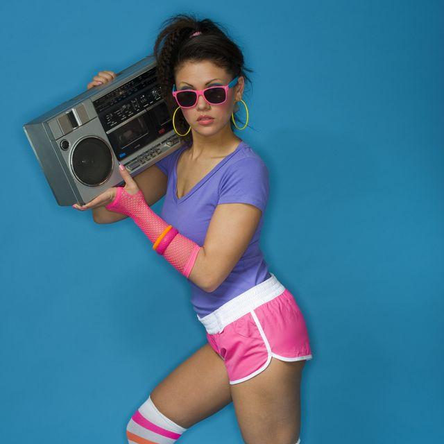 classic halloween 80s costume with radio