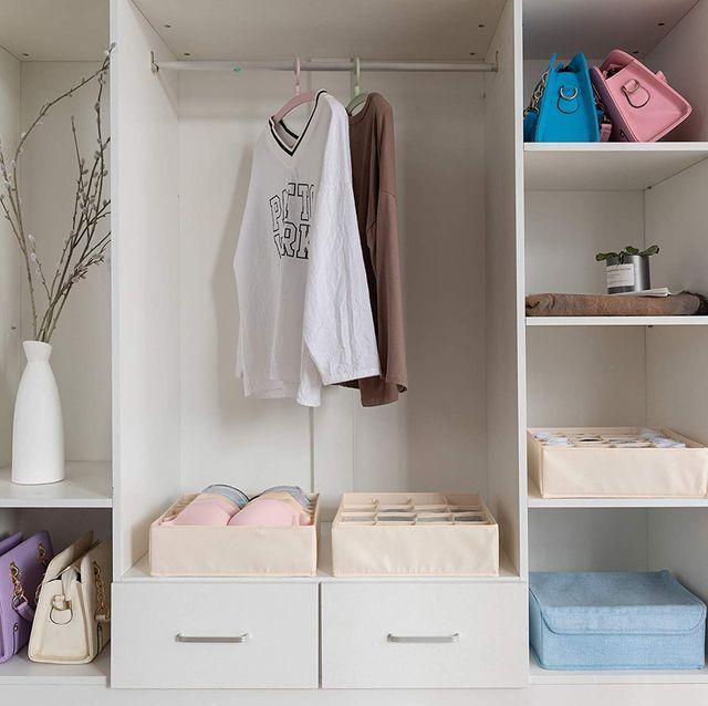 Shelf, Clothes hanger, White, Room, Furniture, Pink, Wardrobe, Closet, Cupboard, Shelving,