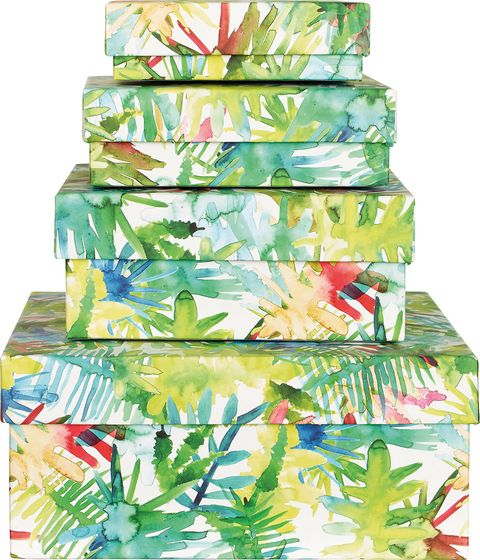 Cajas con estampado tropical