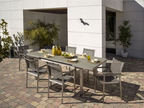 Furniture, Table, Property, Room, Outdoor table, Tile, Kitchen & dining room table, Chair, Patio, Floor,
