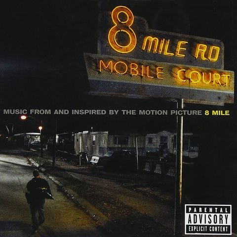 eminem's 8 mile album cover as pictured, he's walking on a dimly lit street