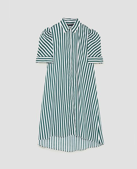 Clothing, White, Sleeve, Green, Collar, Dress shirt, Day dress, Line, Pattern, T-shirt,