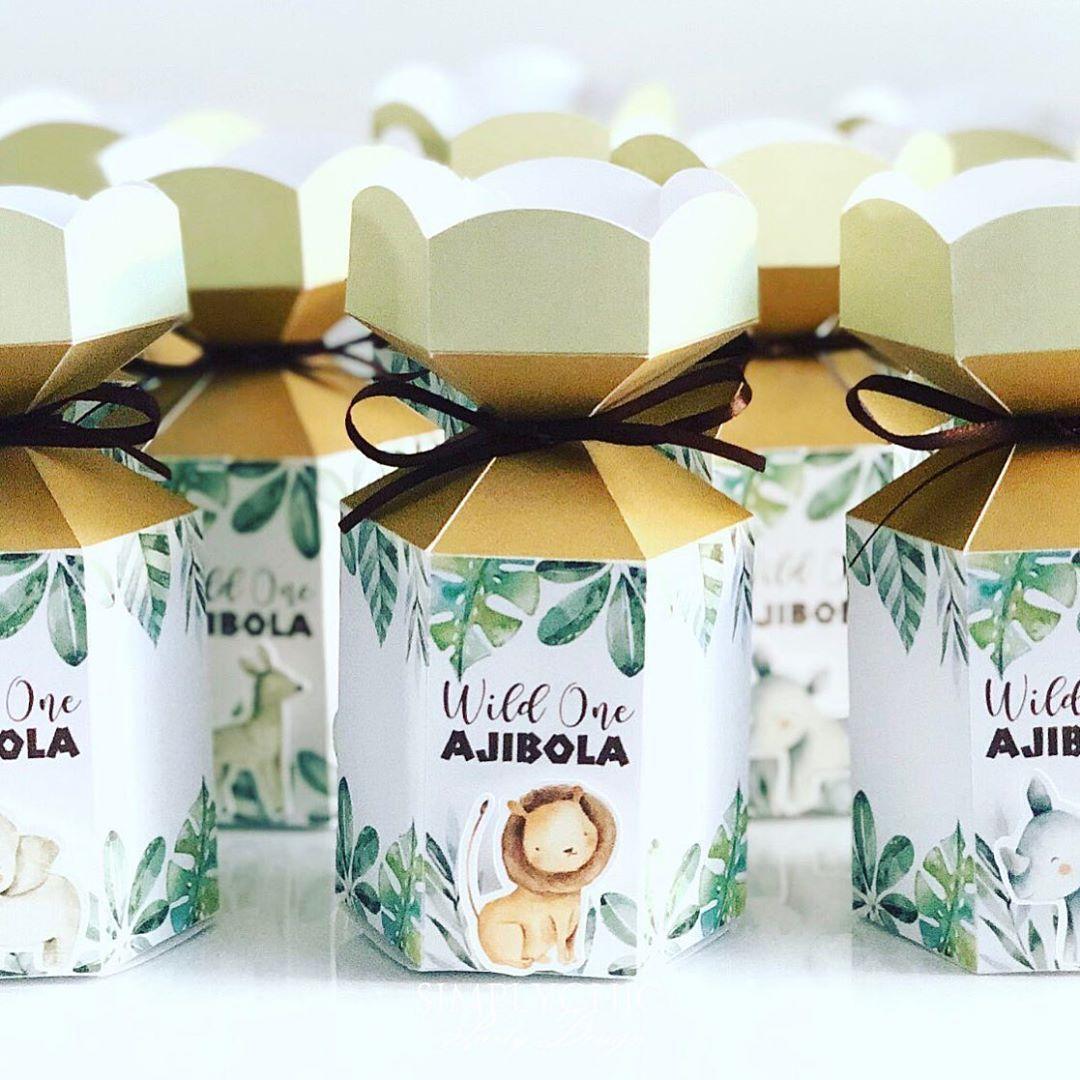 Gold UNICORN Flower Personalised Children/'s Kraft Favor Party Gift Box Bag Lunch