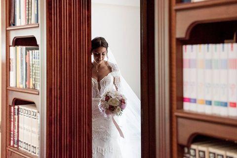 Photograph, Wedding dress, Dress, Bride, Bridal clothing, Gown, Room, Wedding, Ceremony, Event,