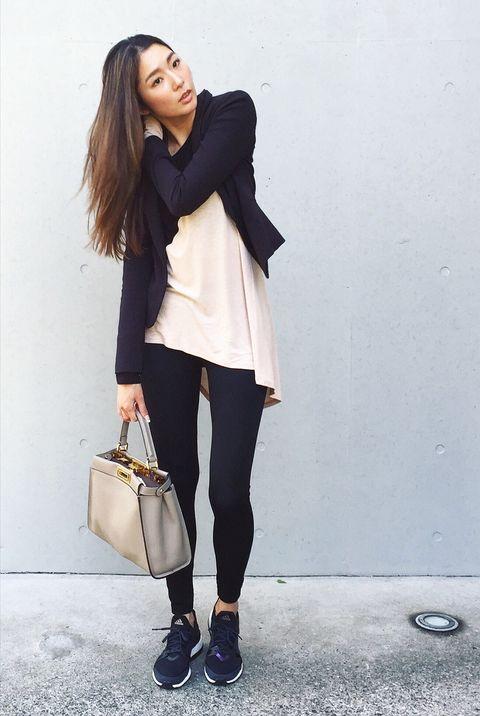 White, Clothing, Black, Street fashion, Shoulder, Fashion, Outerwear, Blazer, Jeans, Footwear,