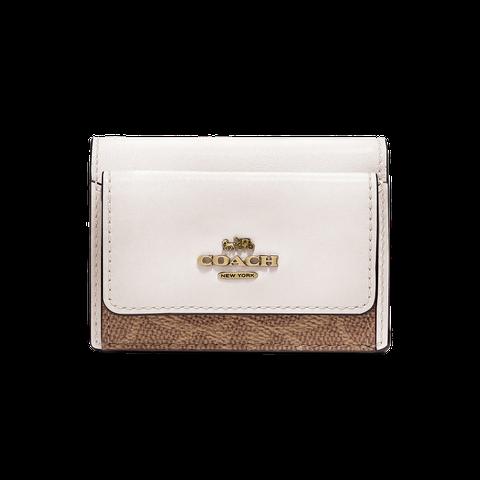 Wallet, Fashion accessory, Coin purse, Leather, Beige, Rectangle, Handbag, Brand, Metal, Bag,