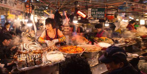 Public space, Market, Street food, Human settlement, City, Night, Bazaar, Dai pai dong, Meal, Food,