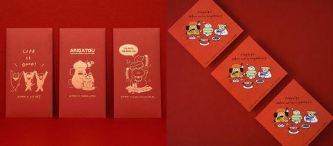 長方形的紅包上面有金色圖案,方形的紅包上面有繽紛插畫