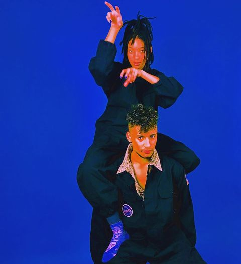 Blue, Fun, Electric blue, Dancer, Gesture, Performance, Smile,