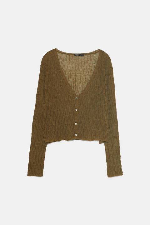 Clothing, Outerwear, Sweater, Beige, Cardigan, Sleeve, Brown, Top, Crop top, Wool,