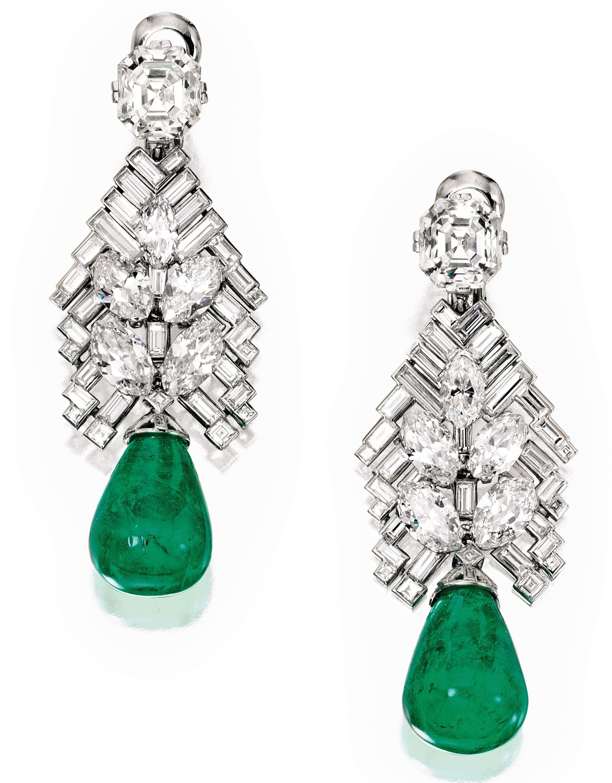 Cartier, diamond, emerald, earring