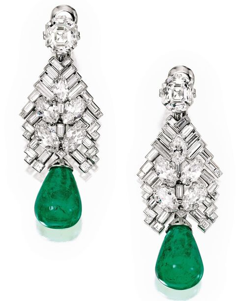 Cartier, diamond, emerald, earring