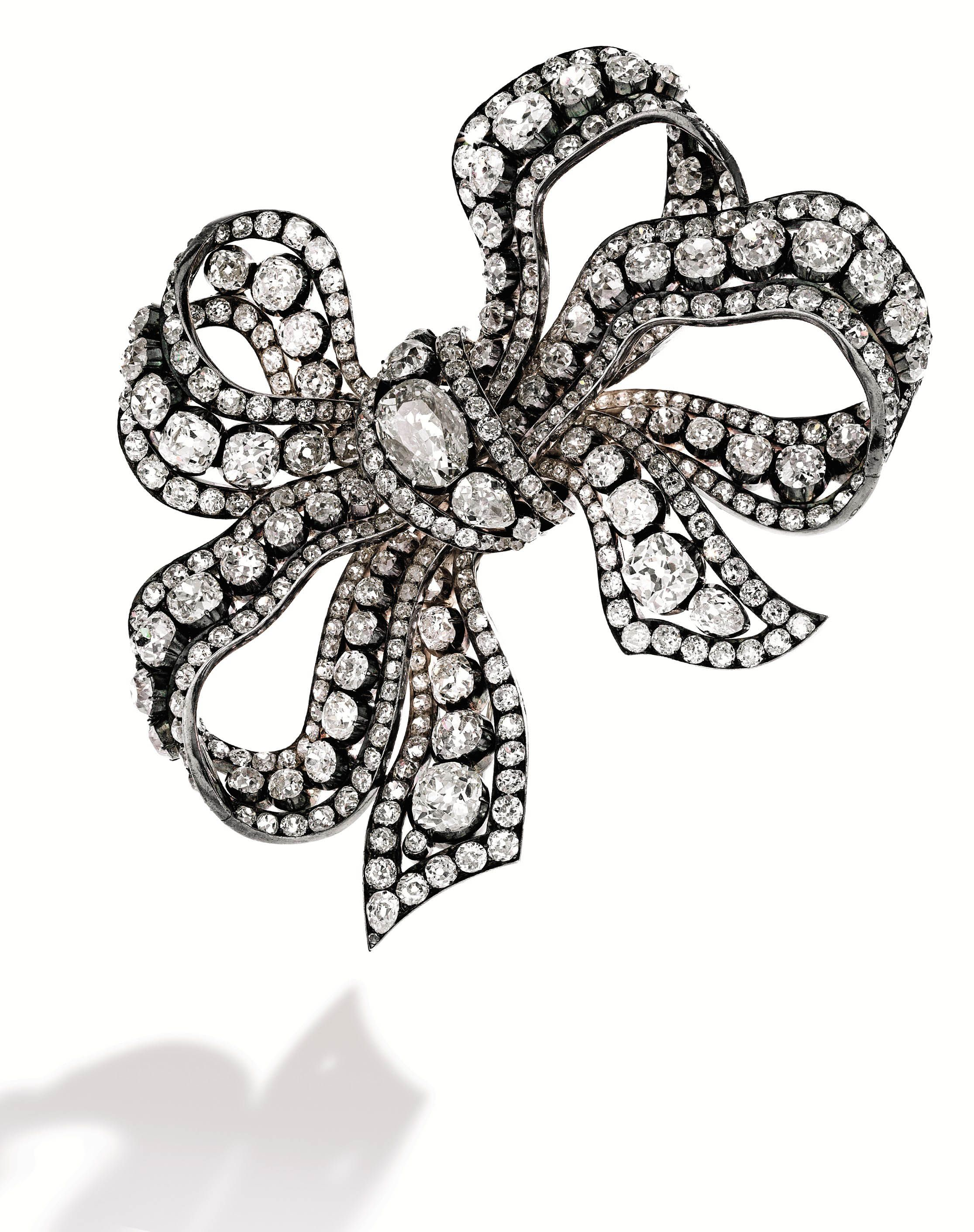 Diamond, bow, brooch