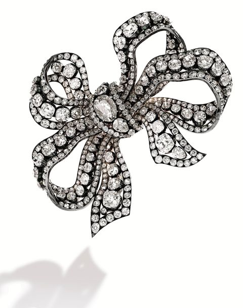 Diamond, bow, brooch
