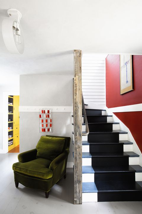 Stairs, Room, Interior design, Furniture, Red, Property, Green, House, Floor, Yellow,