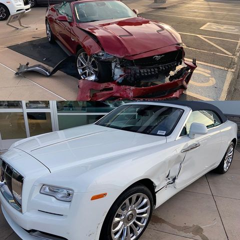 ford mustang rolls royce accidente
