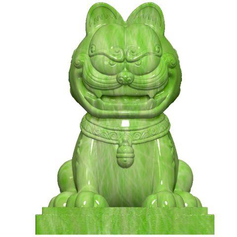 加菲貓變身灰色的石獅子、虎爺、舞龍舞獅