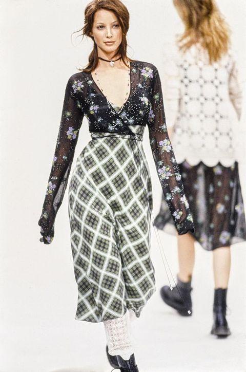 Clothing, Fashion model, Dress, Fashion, Pattern, Waist, Sleeve, Day dress, Neck, Fashion design,