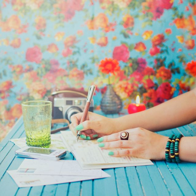Writing her diary