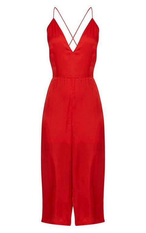 Clothing, Dress, Day dress, Cocktail dress, Red, One-piece garment, Neck, Formal wear, Sleeve, Sheath dress,