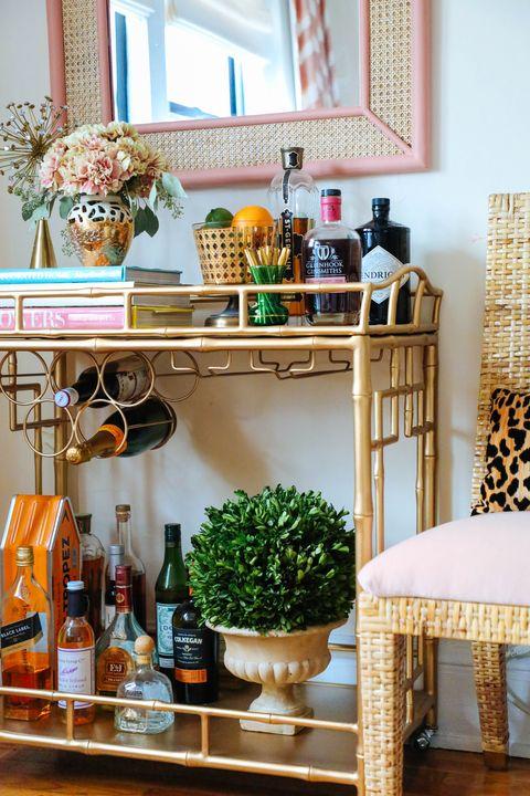 Shelf, Furniture, Room, Interior design, Shelving, Table, Orange, Home, Yellow, Wall,