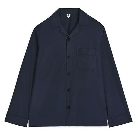 donkerblauw pyjama overhemd arket lange mouwen